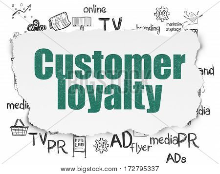 Advertising concept: Painted green text Customer Loyalty on Torn Paper background with  Hand Drawn Marketing Icons