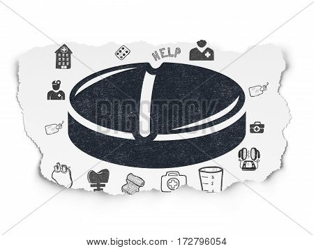 Healthcare concept: Painted black Pill icon on Torn Paper background with  Hand Drawn Medicine Icons