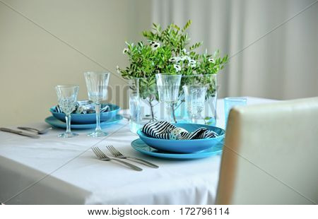 Beautiful table setting in cafe