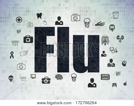 Health concept: Painted black text Flu on Digital Data Paper background with  Hand Drawn Medicine Icons