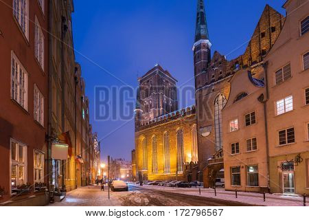 Old town of Gdansk in snowy winter, Poland