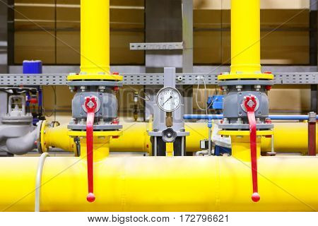 Gas pipeline.Industrial business.Industrial equipment oil and gas industry closeup.