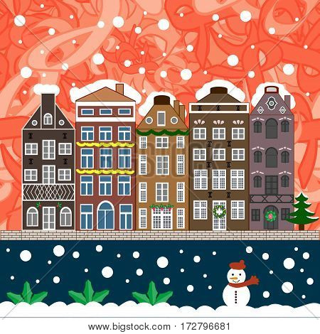 Christmas card Happy Holidays banner. Urban winter landscape. Flat design. Snowy street. Vector illustration.