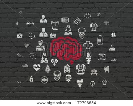 Healthcare concept: Painted red Brain icon on Black Brick wall background with  Hand Drawn Medicine Icons