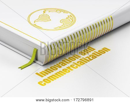Science concept: closed book with Gold Globe icon and text Innovation And Commercialization on floor, white background, 3D rendering