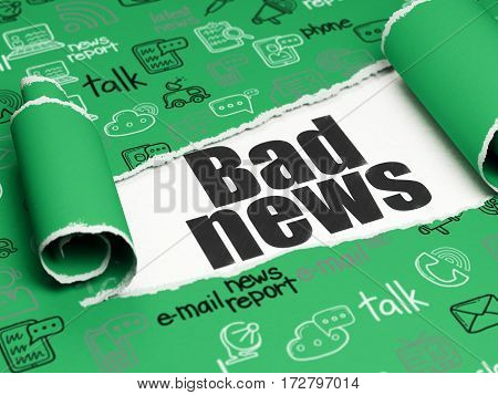 News concept: black text Bad News under the curled piece of Green torn paper with  Hand Drawn News Icons, 3D rendering