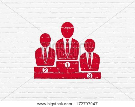 News concept: Painted red Business Team icon on White Brick wall background
