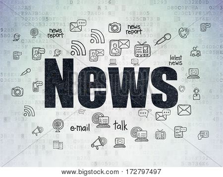 News concept: Painted black text News on Digital Data Paper background with  Hand Drawn News Icons