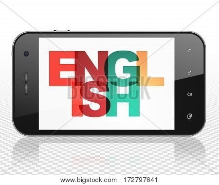 Education concept: Smartphone with Painted multicolor text English on display, 3D rendering