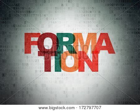 Learning concept: Painted multicolor text Formation on Digital Data Paper background