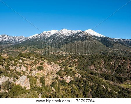 Landscape Of Mountain Helmos With Snow