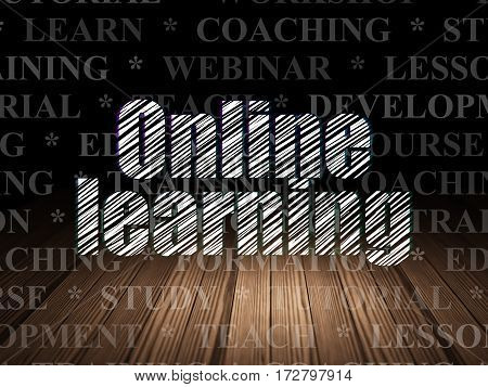 Studying concept: Glowing text Online Learning in grunge dark room with Wooden Floor, black background with  Tag Cloud