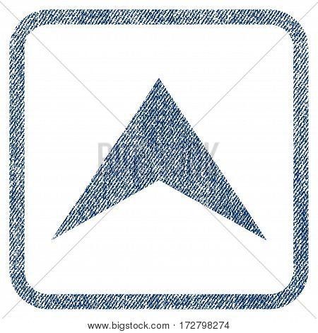 Arrowhead Up vector textured icon for overlay watermark stamps. Blue jeans fabric vectorized texture. Symbol with scratched design inside rounded rectangular frame.