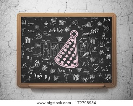 Entertainment, concept: Chalk Pink Party Hat icon on School board background with  Hand Drawn Holiday Icons, 3D Rendering