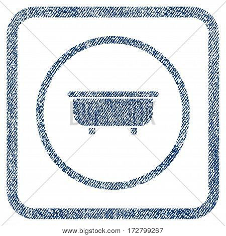 Bathtub vector textured icon for overlay watermark stamps. Blue jeans fabric vectorized texture. Symbol with scratched design inside rounded rectangle.