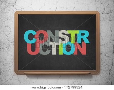 Building construction concept: Painted multicolor text Construction on School board background, 3D Rendering