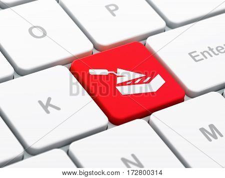 Constructing concept: computer keyboard with Brick Wall icon on enter button background, selected focus, 3D rendering