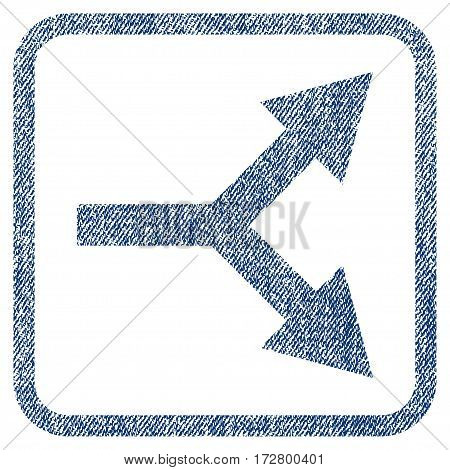 Bifurcation Arrow Right vector textured icon for overlay watermark stamps. Blue jeans fabric vectorized texture. Symbol with unclean design inside rounded rectangle.