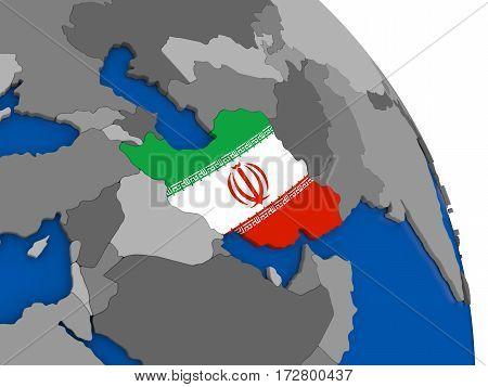 Iran And Its Flag On Globe