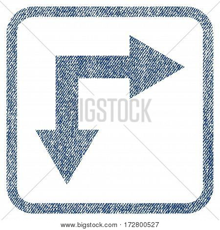 Bifurcation Arrow Right Down vector textured icon for overlay watermark stamps. Blue jeans fabric vectorized texture. Symbol with dust design inside rounded rectangular frame.