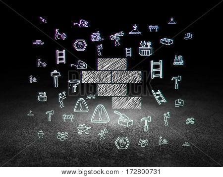 Construction concept: Glowing Bricks icon in grunge dark room with Dirty Floor, black background with  Hand Drawn Construction Icons