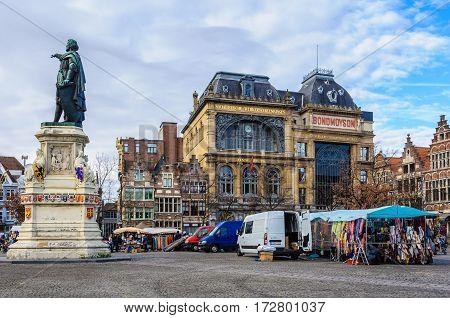 GHENT, BELGIUM - JANUARY 28, 2017: Market Square in Ghent Flanders Belgium