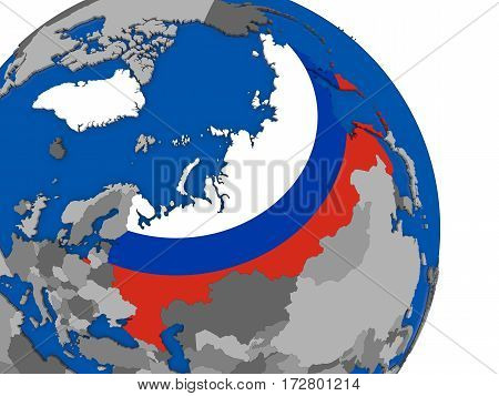 Russia And Its Flag On Globe
