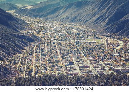 Retro Toned Aerial Picture Of Glenwood Springs Residential Area.