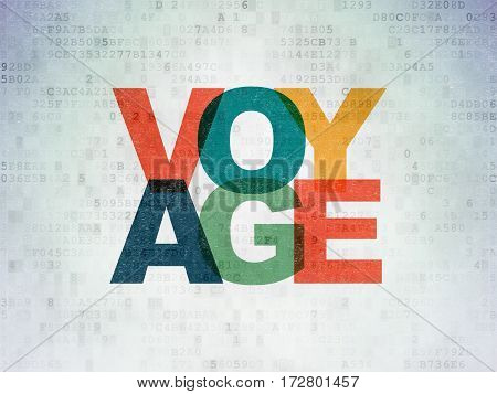 Travel concept: Painted multicolor text Voyage on Digital Data Paper background