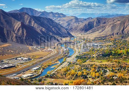 Aerial Picture Of Glenwood Springs Valley In Colorado.