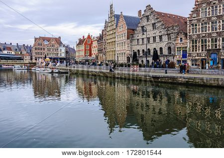 GHENT, BELGIUM - JANUARY 28, 2017: Reflection of medieval houses in Ghent Flanders Belgium
