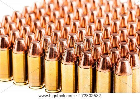Pistol Ammunitions On White