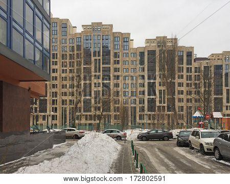 Moscow Russia - January 14 2017: Modern blocks of flats on Leninskiy prospekt Obruchevskiy district.