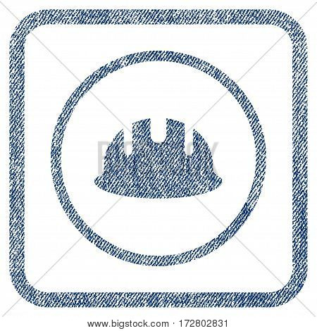 Builder Hardhat vector textured icon for overlay watermark stamps. Blue jeans fabric vectorized texture. Symbol with scratched design inside rounded rectangle.