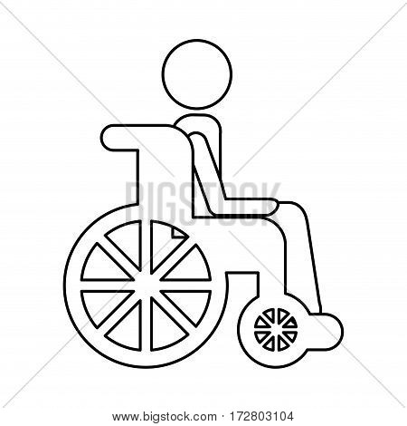 wheelchair with patient icon vector illustration design