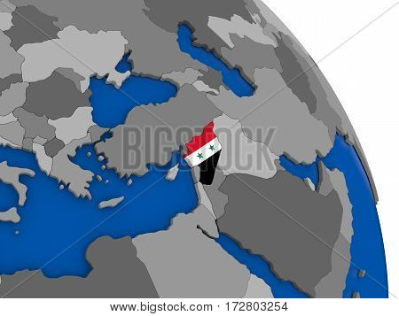 Syria And Its Flag On Globe