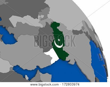 Pakistan And Its Flag On Globe