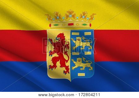 Flag of North Holland is a province in the northwest of the Netherlands. 3d illustration