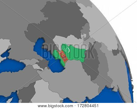 Turkmenistan And Its Flag On Globe