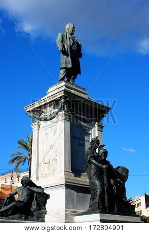 Piazza Cavour with Cavour monument in Rome Italy