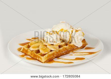 Belgian Waffles On A White Background