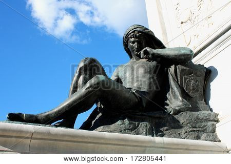 detail on Monument to Cavour on the square of its name in Rome Italy