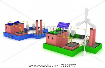 Chemical plant with blue fence and Factory energy efficiency with windmill. 3D render.