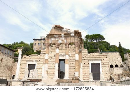 Ancient Roman ruins in the heart of the city of Brescia - Lombardy - Italy