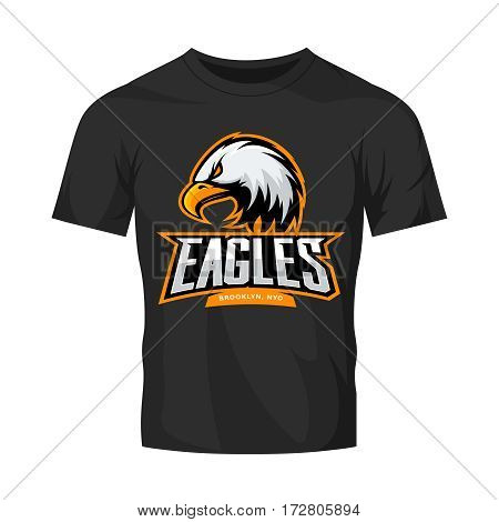 Furious eagle sport vector logo concept isolated on black t-shirt mockup. Modern web infographic New York Brooklyn team pictogram. Premium quality wild bird t-shirt tee print illustration.