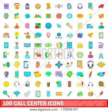 100 call center icons set in cartoon style for any design vector illustration