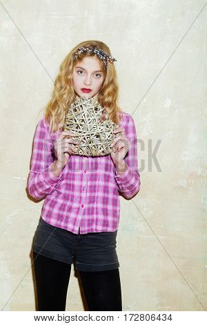 Pretty Girl With Wicker Heart For Valentines Day