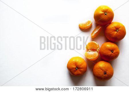 Mandarin isolated on white background. organic food