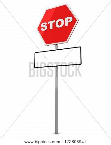 Stop Sign with tablet for an inscription below . 3D render.