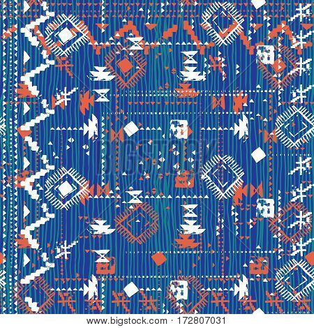 Vector seamless print with stripes and lines, abstract shapes and dots in blue color. Ethnic pattern with native and tribal motif. Woven vintage textile design in aztec style with hand painted chevron